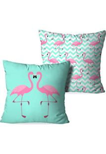 Kit 2 Capas Para Almofadas Decorativas Love Decor Flamingos Love Verde
