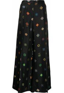 Kirin Calça Pantalona Jacquard De Logo - Preto