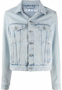 Off-White Jaqueta Jeans Cropped - Azul