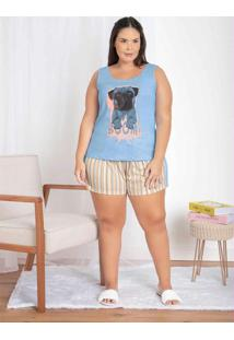 Pijama Regata E Shorts Com Recorte Azul/Listra