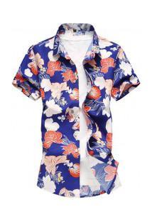 Camisa Masculina Design Floral - Azul