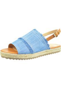 Sandália Flat Spossi Jeans Azul