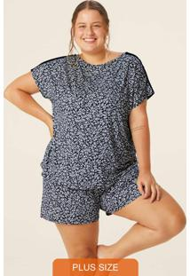Pijama Estampado Floral Em Viscose Plus