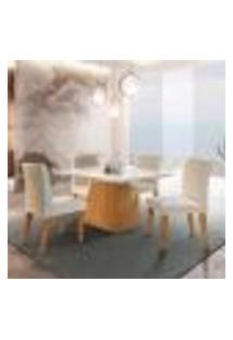 Conjunto De Mesa De Jantar Luna Com Tampo Off White E 4 Cadeiras Grécia Veludo Creme E Imbuia