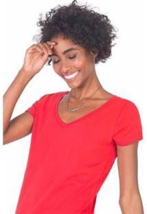 Blusa Gola V Básica Feminina - Feminino-Vermelho