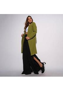 Cardigan Canelado Verde Militar Com Fenda Cs070 - Feminino-Verde