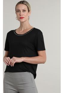 Blusa Feminina Ampla Com Strass Curta Decote Redondo Preta