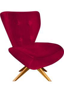 Poltrona Decorativa Tathy Suede Vermelho Com Base Giratória De Madeira - D'Rossi