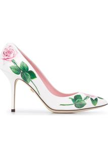 Dolce & Gabbana Scarpin Com Estampa De Rosa - Branco