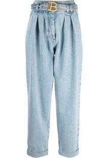 Balmain High Waist Belted Boyfriend Jeans- Eco Sustainable - Azul