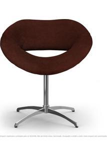 Cadeira Beijo Marrom Poltrona Decorativa Com Base Giratória