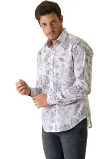 Camisa Opera Rock Voil Com Estampa Floral Off White
