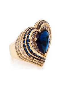 Anel Kumbayá Coraçáo Semijoia Banho De Ouro 18K Cristal Azul E Cravaçáo De Zircônias Detalhe Em Ródio