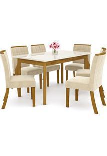Sala De Jantar Mesa Retangular Ghala 160Cm Com 6 Cadeiras Tauá Nature/