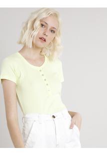 Blusa Feminina Básica Com Botões Manga Curta Decote Redondo Amarelo Claro
