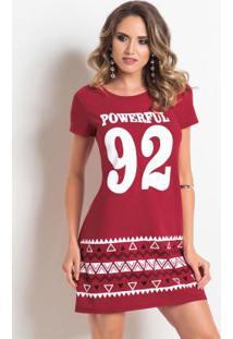 bdafd6f54b ... Vestido T-Shirt Vermelho Com Estampa Frontal