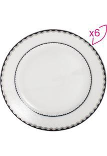 Jogo De Pratos De Sobremesa Em Porcelana Blue Silver - Bwolff