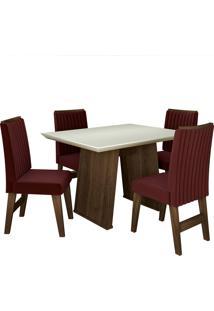 Conjunto De Mesa Para Sala De Jantar Com 4 Cadeiras Vigo -Dobuê Movelaria - Castanho / Branco Off / Vinho Bord