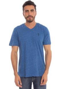 Camiseta Lisa 1/2 Malha Gola V - Jeans Aleatory Masculina - Masculino-Azul