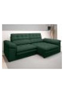 Sofá Capriccio 2,10M Assento Com Braço Retrátil E Reclinável Velosuede Verde