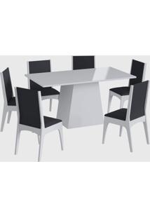 Conjunto Mesa C/ Base 6 Cadeiras Branco Móveis Cançáo - Tricae