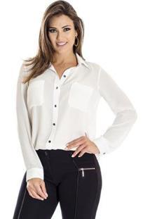 Camisa Fina Ana Hickmann Feminina - Feminino-Off White