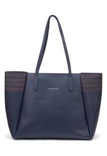 Bolsa Shopping Detalhe Pesponto Azul - Tu