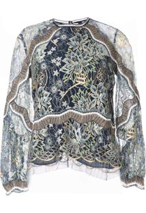 Peter Pilotto Metallic Lace Blouse - Azul