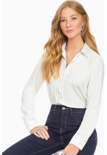 Camisa Off White Gola Rendada