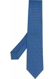 Kiton Gravata Com Estampa Quadrada - Azul