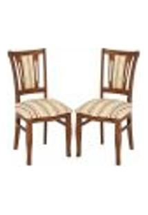 Kit 2 Cadeiras Decorativas Sala De Jantar Odisseu Madeira Maciça Listrado - Gran Belo