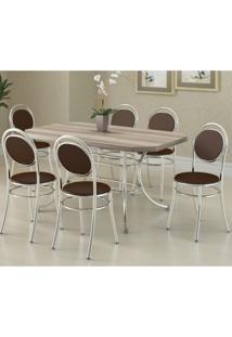 Conjunto Mesa Retangular E 6 Cadeiras Siena Móveis Cromado/Cacau