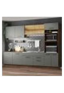 Cozinha Completa Madesa Agata 310001 Com Armário E Balcão (Sem Tampo E Pia) - Rustic/Cinza