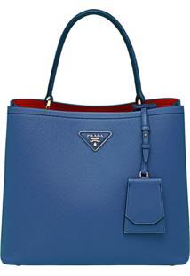 Prada Pochete 'Double' De Couro Saffiano - Azul
