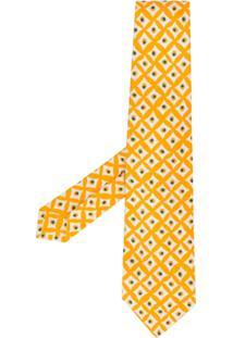Kiton Gravata Com Padronagem Geométrica - Amarelo