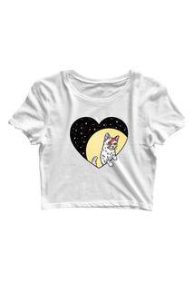 Blusa Blusinha Feminina Cropped Tshirt Camiseta Cat Coração Branco