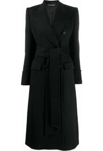 Dolce & Gabbana Casaco Midi Com Cinto - Preto