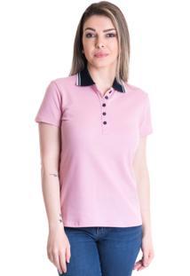 Camisa Pólo Conforto Rosa feminina  9c55496cbeeab