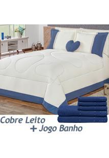Kit 11 Peças Combo Cobre Leito C/ Almofada Jogo De Banho Amore Azul Queen Percal 180 Fios