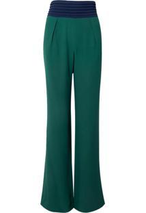 Calça Bobô Cleópatra Alfaiataria Crepe Verde Feminina (Verde Medio, 34)