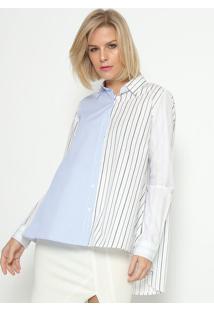 Camisa Listrada - Azul & Brancacalvin Klein