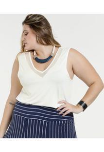 Marisa. Regata Feminina Recorte Tule Plus Size Marisa e6157e7d6dc