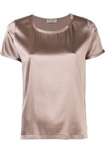 Blanca Blusa Com Decote Arredondado - Marrom