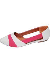 Sapatilha Jane Alana Pink Com Branco