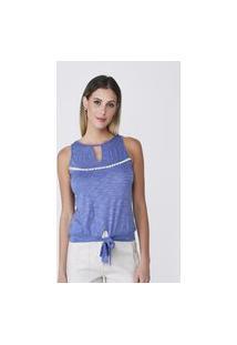 Blusa Celestine Azul Em Malha