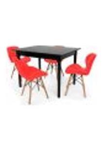 Conjunto Mesa De Jantar Robust 110X90 Preta Com 4 Cadeiras Eames Eiffel Slim - Vermelha
