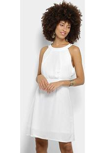 Vestido Holin Stone Curto Evasê Renda Costas - Feminino-Off White