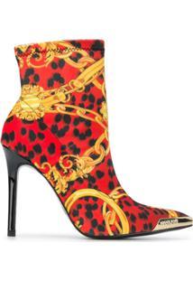 Versace Jeans Couture Ankle Boot Vermelha Com Estampa Barroca - Vermelho