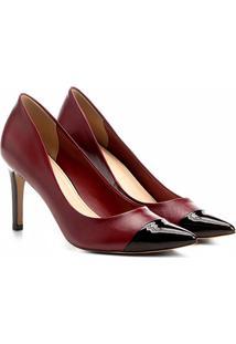 Scarpin Couro Shoestock Salto Alto Bicolor - Feminino-Bordô