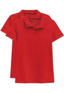 Kit De 2 Camisas Polo Femininas Vermelho